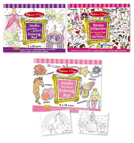 Melissa & Doug Girls Sticker Pad / Coloring Books Bundle - Epic Kids ...