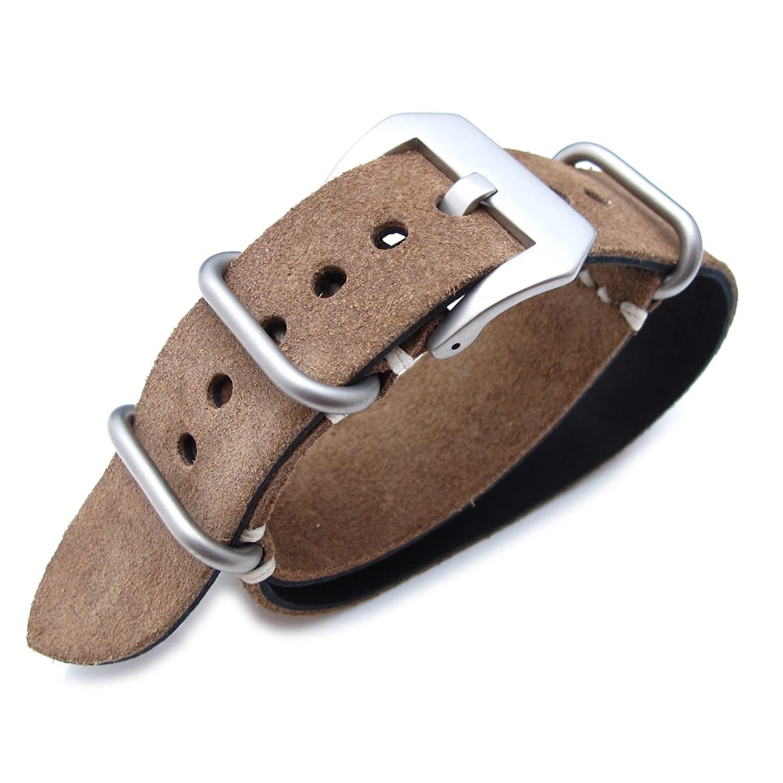 MiLTAT 20mm Nubuck Leather Grezzo Zulu watch strap Brown Thick armband - Beige Hand Stitch 10pcs hand made high quality fine leather watch strap