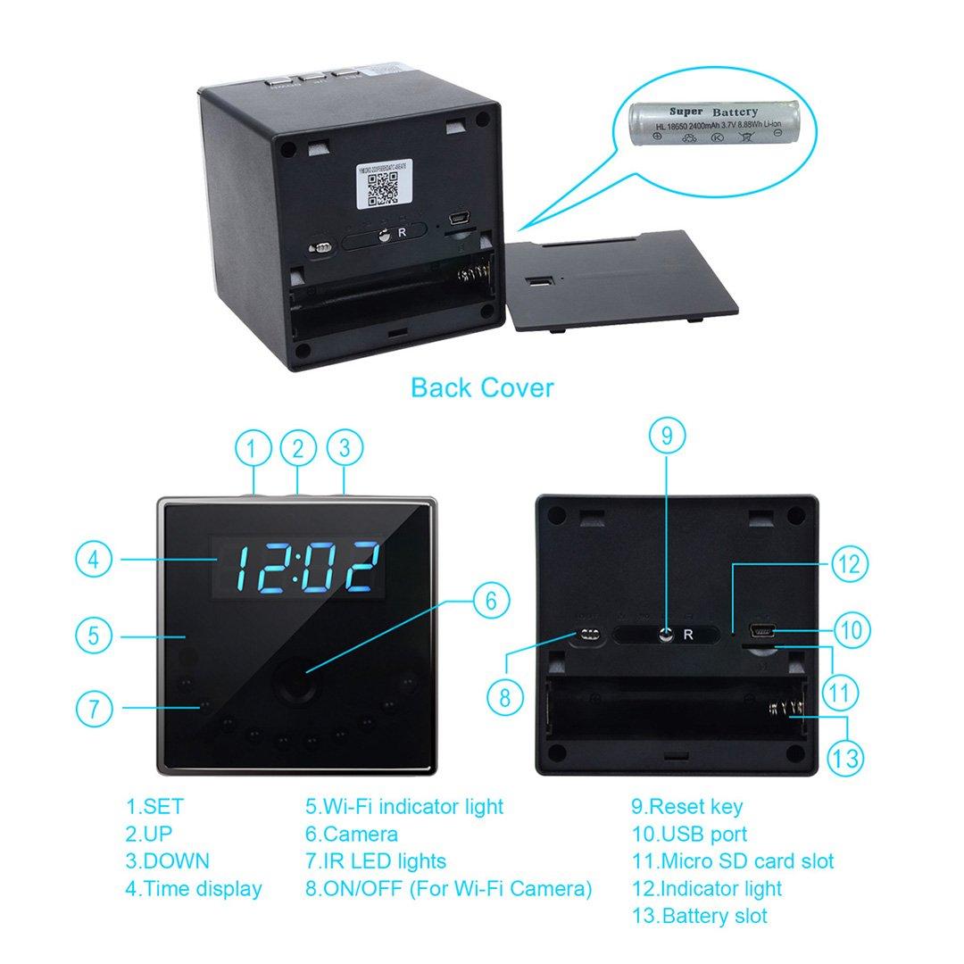 Corprit Wireless Hidden Spy Camera Network IP Nanny Cam HD 1080P WiFi Home Security Camera Black Cube Table Alarm Clock Surveillance Mini DVR, Free 16GB Micro SD Card Included