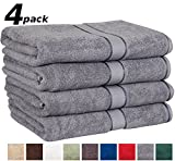 "Utopia Towels Premium Large 100% Cotton Bath Towels, Easy Care, Ringspun Cotton for Maximum Softness and Absorbency, 4-Pack - Smoke Gray (30"" x 56"")"