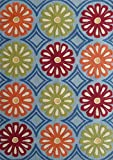 Charming Han Blue Indoor and Outdoor Vivid Collection Rug with Round Allover Floral Vibrant color Designs, Hand Tufted Exact 5ft x 7ft On Sale!
