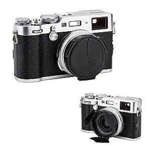 Auto Lens Cap Hood JJC Camera Automatic Lens Cap Cover Shade for Fujifilm Fuji X100F X100T X100S X100 X70 with 3 Auto Leaves -Black (Color: Black)