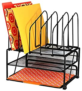 DecoBros Mesh Desk Organizer with Double Tray and 5 Upright Sections from Deco Brothers