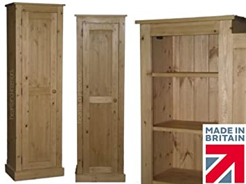 Solid Pine Cupboard, Handcrafted & Waxed 1 Door Alcove, Pantry, Larder, Shoe, Linen Bathroom, Hallway or Kitchen Storage Cabinet. Choice of Colours. No flat packs, No assembly (CUP61D)