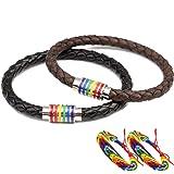 Gay Lesbian Bracelet LGBT 2PCS Couple Rainbow Bracelets Stainless Steel Magnetic Genuine Leather Braided Bangle Cuff (Color: Black)