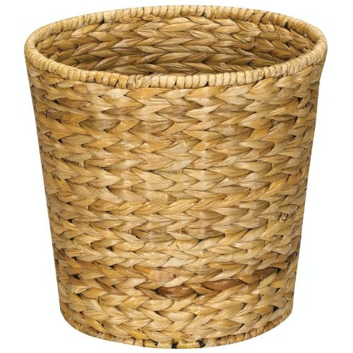 Household Essentials Woven Water Hyacinth Wicker Waste Basket, Natural (Wicker Garbage Can compare prices)