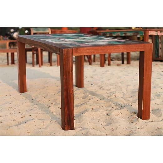 Mesa de comedor hecha de reciclado barco pesquero de madera, 180x90x76cm, (n. 7109)