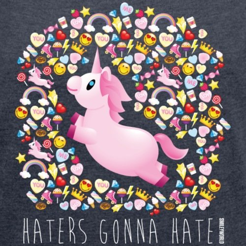 Smiley-World-Licorne-Haters-Gonna-Hate-T-shirt-Femme--manches-retrousses-de-Spreadshirt