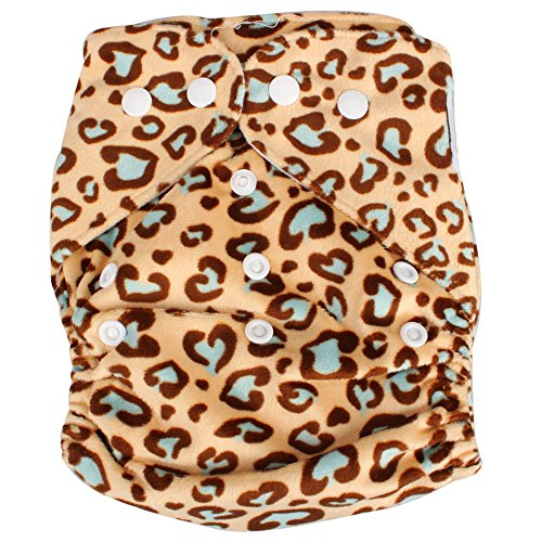 Ztdm Washable Super-Soft Velvet Button Baby Pocket Cloth Diaper Nappy Baby Kids Infant Pocket Cloth Diaper Nappy+2 Inserts (Leopard Print) front-810187