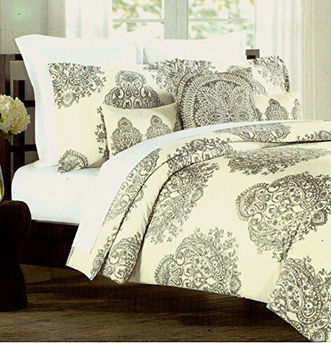 Nicole Miller Home King Duvet Cover And Shams Set, Gray Paisley Moroccan Medallion Print