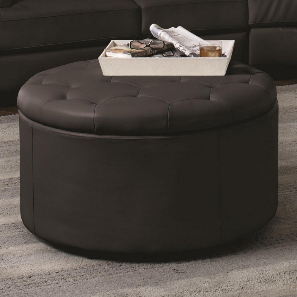 Large Round Tufted Leather Ottomans With Storage Olivia 39 S
