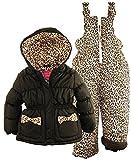 Pink Platinum Little Girls' Leopard Printed 2-Piece Snowsuit Bib Pant Set