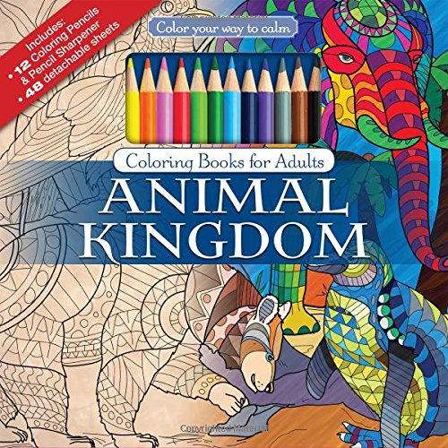 Animal Kingdom Adult Coloring Book Set With Colored Pencils And Pencil Sharpener Included: Color Your Way To Calm (Color with Music) (Colored Pencil Patterns compare prices)