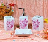 Bathroom Accessory Sets - Beautiful deep pink rose ceramic bathroom four-pieces set / wash suits / household goods