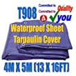 Tarpaulin Ground Sheet Cover 13ft X16ft 4M X 5M Waterproof Roof Cover Polyethylene Woven Garden Builders