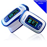 Finger Pulse Oximeter Portable Digital Blood Oxygen and Pulse Sensor Meter with Alarm - SPO2 - For Adults, Children, Sports Use - TempIR for Reliability and Excellent Customer Care (Color: White and Blue)