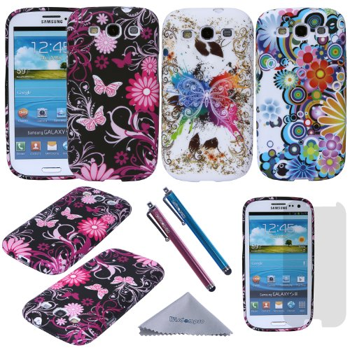 S3 Case, Wisdompro 3 Pack Bundle of Color and Graphic Soft TPU Gel Protective Case Covers for Samsung Galaxy S III / S3 (Flower Butterfly Pattern) (Samsung Galaxy S3 Case Jelly compare prices)