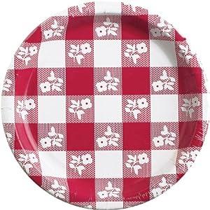 "Converting Paper Plates, 7"" Diameter, Red Gingham Pattern, 25/Pack"
