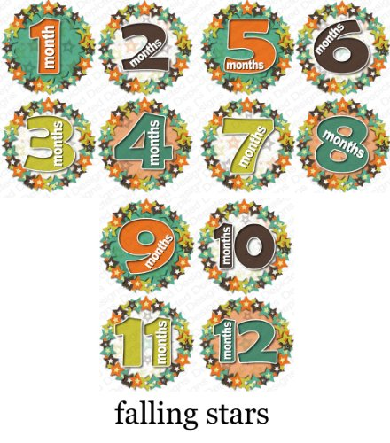 FALL STARS Baby Month Onesie Stickers Baby Shower Gift Photo Shower Stickers, baby shower gift by OnesieStickers - 1