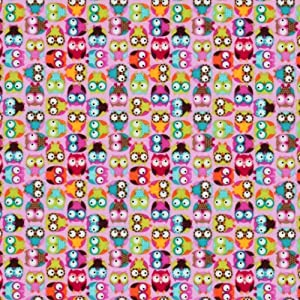 Timeless Treasures Pee Wee Parade Flannel Tossed Mini Owls Pink, 44-inch (112cm) Wide Cotton Fabric Yardage