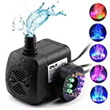 ZMLM Fountain Pumps (15W 800L/H) with Colorful LED Light Ultra Quiet Submersible Water Pump for Indoor Pool, Garden, Pond, Fish Tank, Aquarium, Hydroponic, Statuary (Color: Black)