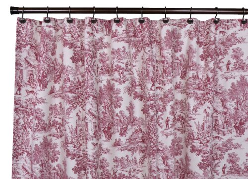 Victoria Park Toile Bathroom Shower Curtain, Red