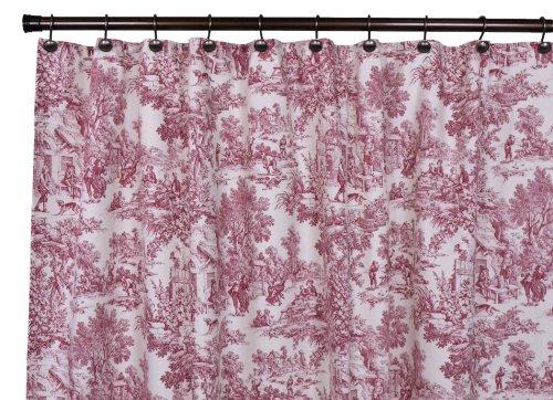 Victoria Park Toile Bathroom Shower Curtain, Red