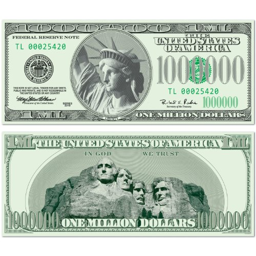 Big Bucks Cutout $1,000,000 Bill Party Accessory (1 count) - 1