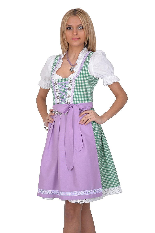Dirndl Trachtenkleid 3tl. Grün Weiß Kariert online bestellen