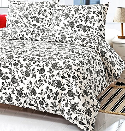 French Country Black and White Floral Full Queen Size Duvet Cover Set 100% Cotton 200 Thread Count