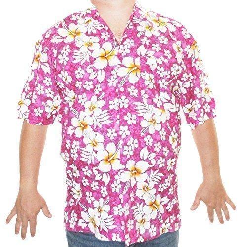 Happy Hawaiian Hut - Herren Hemd Hawaii Aloha S/M/L - L, Pink