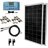 WindyNation 200 Watt Solar Panel Kit: 2pcs 100W Solar Panels + P30L LCD PWM Charge Controller + Solar Cable + MC4 Connectors + Mounting Brackets for Off-Grid RV Boat (Tamaño: 200W Solar Kit)