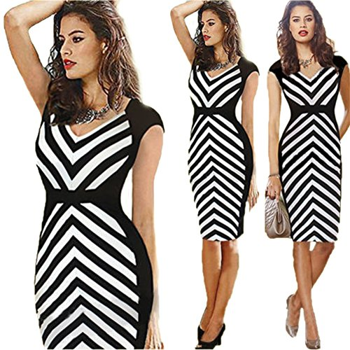 LifeWheel Fashion Professional White-Collar Stripes Decorative Dress