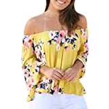 Ninasill Hot ! Women Blouse, Exclusive Casual Sexy Off Shoulder Flare Sleeve Strapless Tops Blouse Shirt (L, Yellow) (Color: Yellow, Tamaño: Large)