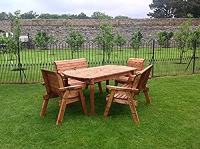 HGG 6 Seater Wooden Garden Table, Bench and Chair Set Dining Set - Outdoor Patio Solid Wood Garden Furniture