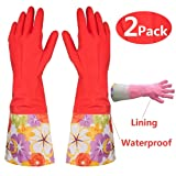 Kitchen Rubber Cleaning Gloves with Warm Lining Household Thickening PU Waterproof Dishwashing Latex Glove Large 2 Pairs (Color: As the Picture Shown, Tamaño: 40x12.5cm/15.74x4.92in)