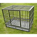 "36"" Professional Superior Quality Heavy Duty Dog Pet Cat Crate Cage Kennel On Wheels *Silver*"