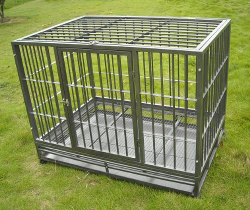 Heavy Duty Pet Cage/Kennel On Wheels - Silver
