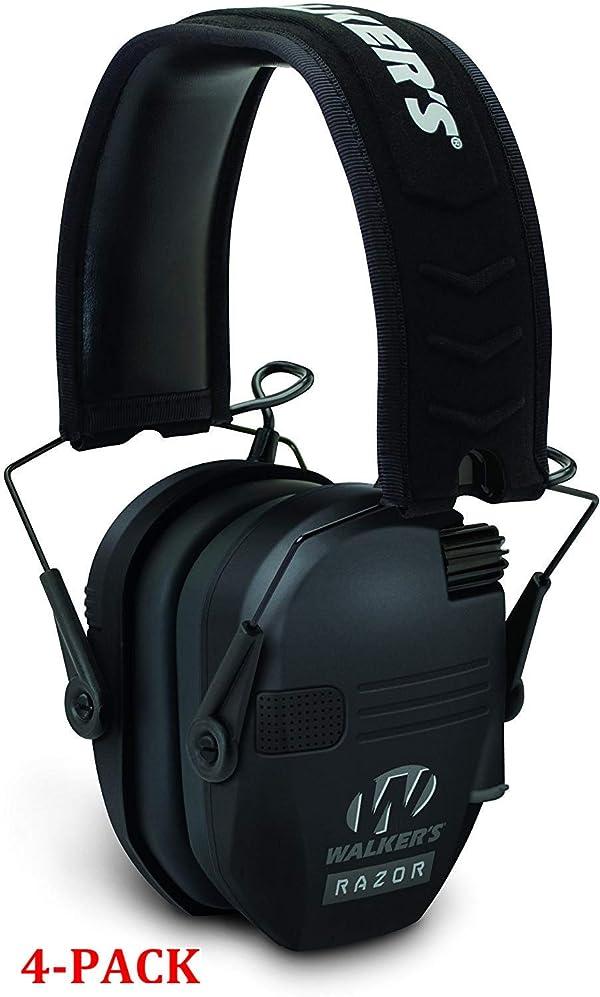 Walker's Game Ear Razor Slim Electronic Muff, Black (Black (4-Pack)) (Color: Black (4-Pack))