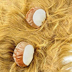 6MILES 1 Pcs Light Brown Adjustable Washable Comfortable Funny Lion Mane Wig with Ears for Dog and Cat Costume Pet Fancy Hair Clothes Dress for Halloween Christmas Easter Festival Party