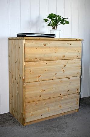 Massivholz Kommode Kiefer gelaugt geölt Wäschekommode 4 Schubladen Schrank