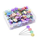 JoyFamily 200 Pieces Flat Button Head Pins Boxed for Sewing DIY Projects (Assorted Colors), Mixed (Color: Mixed, Tamaño: Button Head)