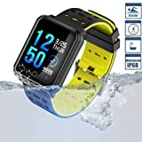 Smart Watch TagoBee TB06 IP68 Fitness Tracker for Swimming Bluetooth Waterproof Activity Tracker Smart Bracelet for Men Women Kids Smart Band Suport Pedometer Step Counter Blood Pressure Heart (black) (Color: black)