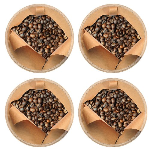 Ripped Paper Fragrant Coffee Beans Round Coaster (4 Piece) Set Fabric Rubber 5 Inch Size Luxlady Coaster Cup Mug Can Water Bottle Drink Coasters Stain Resistance Collector Kit Kitchen Table Top Desk