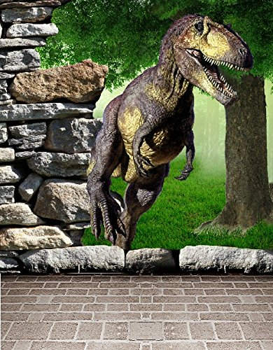 6.5 Ft*5 Ft (200cm*150cm) Background Dinosaur Rock Trees 3D Baby Photography Backdrop K-002
