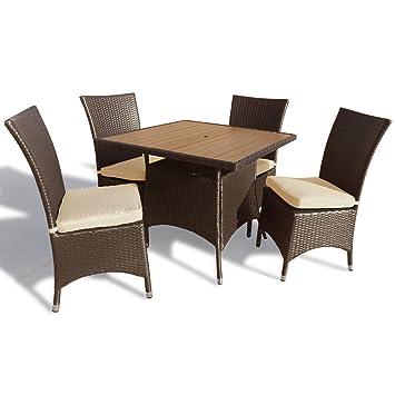Appledore salon de jardin en rotin 4 places avec table for Amenagement salon carre