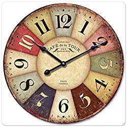 iCasso 16 Vintage France Paris Colourful French Country Tuscan Style Non-Ticking Silent Wood Wall Clock