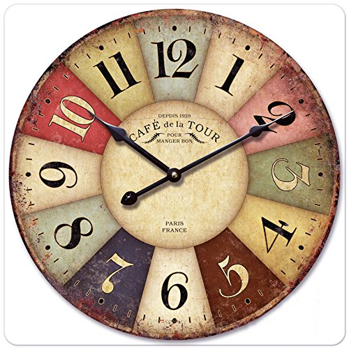 "iCasso 16"" Vintage France Paris Colourful French Country Tuscan Style Non-Ticking Silent Wood Wall Clock"