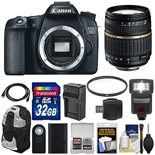 Canon EOS 70D Digital SLR Camera Body with 18-200mm XR Lens + 32GB Card + Flash + Battery  &  Charger + Backpack + Filter + Kit