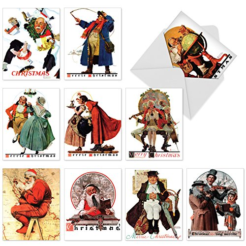 M6059sl Rockwell Holidays: 10 Assorted Christmas Note Cards Featuring Vintage Artwork By The Well-Known American Artist Norman Rockwell, w/White Envelopes.
